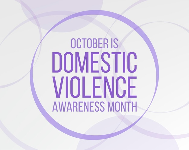 Domestic violence awareness month concept.  banner for with  purple ribbon awareness and text.  vector illustration.