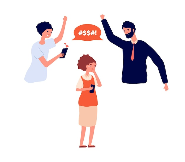 Domestic violence. family bullying on child, parents swear at kid. girl crying, mom and dad scream. adult aggressive behavior, social problems vector illustration. domestic bullying and aggression