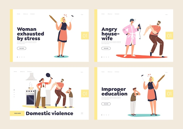 Domestic violence and home kids harassment landing page set