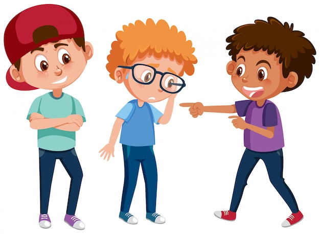 Domestic violence with kid bullying the others on white background