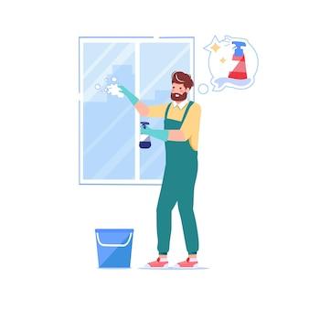 家事労働者 掃除人 窓を洗う