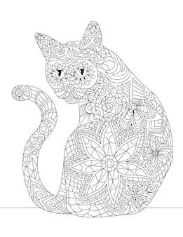 긴 꼬리 무색 선 그리기 작은 새끼 고양이로 뒤를 돌아보며 앉아 있는 길들여진 고양이