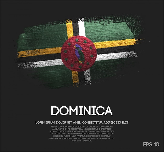 Dominica flag made of glitter sparkle brush paint