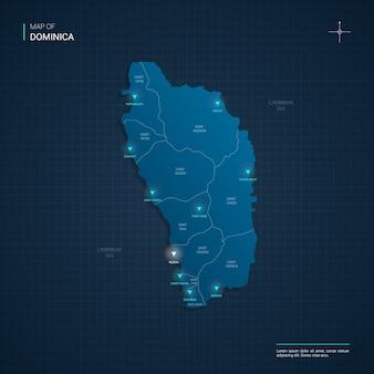 青いネオンの光点を持つドミニカの地図-濃い青のグラデーションの三角形