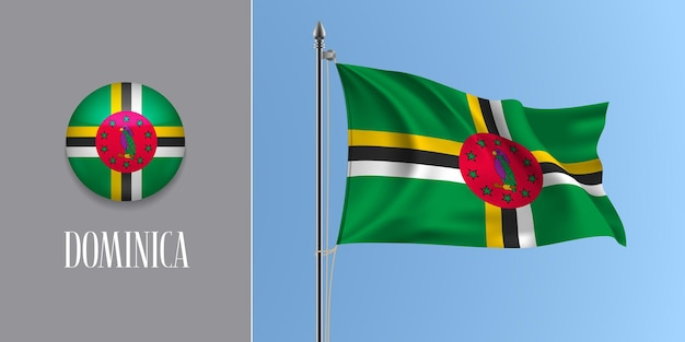Dominica waving flag on flagpole and round icon vector illustration. realistic 3d mockup with design of dominican flag and circle button