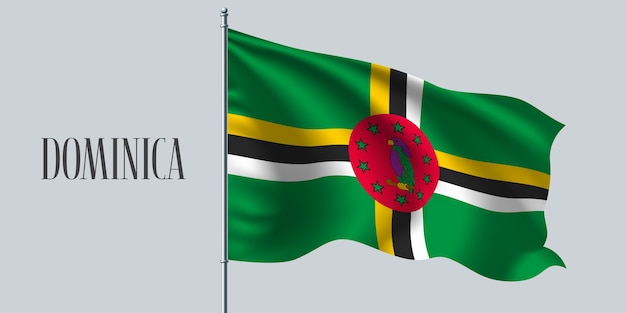 旗竿に旗を振るドミニカ