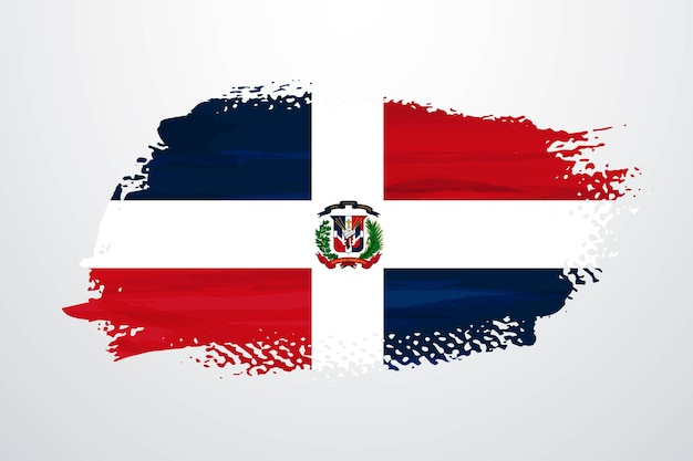 Dominican republic brush paint flag