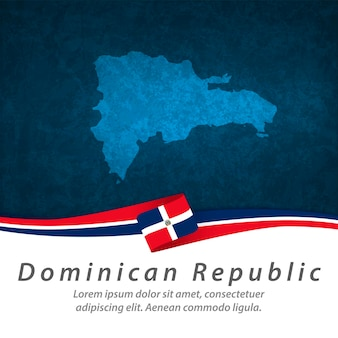 中央地図とドミニカ共和国の旗