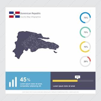 Dominican republic map & flag infographics template