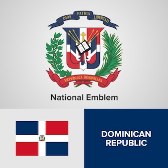 Dominican republic national emblem and flag
