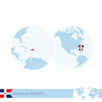 ドミニカ共和国の旗と地域の地図で世界のドミニカ共和国。ベクトルイラスト。
