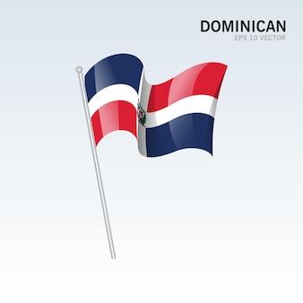 グレーに分離されたドミニカ共和国の旗を振る