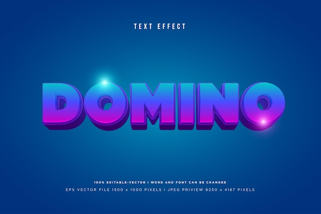 Domino 3d text effect on blue background