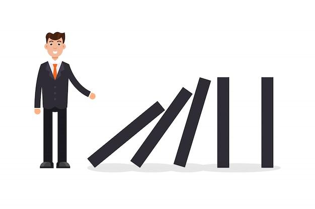 Domino effect. businessman pushing the domino.