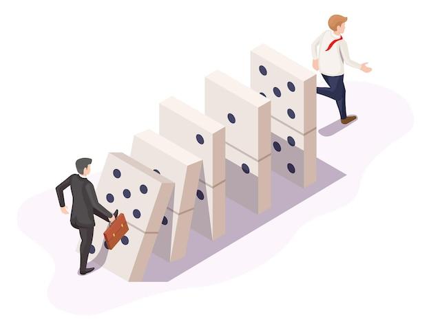 ビジネスにおけるドミノ効果または連鎖反応、ベクトル等角図。落下するドミノ。ビジネスの危機、失敗。
