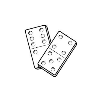 ドミノ手描きアウトライン落書きアイコン。印刷、ウェブ、モバイル、白い背景で隔離のインフォグラフィックのドミノのベクトルスケッチイラスト。
