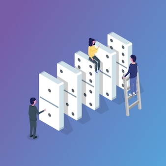 Domino isometric concept. vector illustration in flat style.