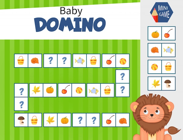 Domino mini game for children. cartoon style.