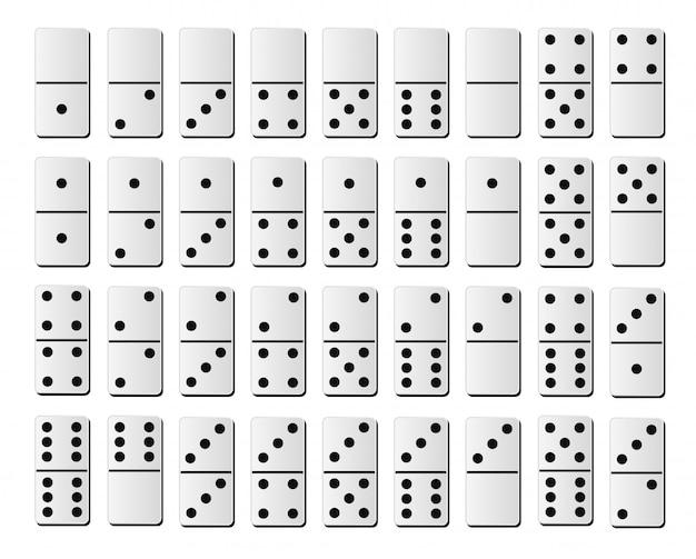 ドミノまたはドミノタイルゲームの黒い斑点の番号を持つ白い分離された現実的なモックアップ