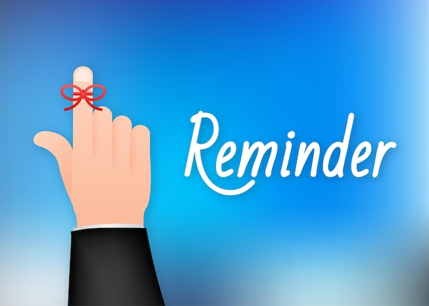 Don t forget reminder. rope bow on finger pointing. vector stock illustration