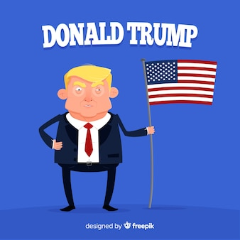Donald trump character with flat design