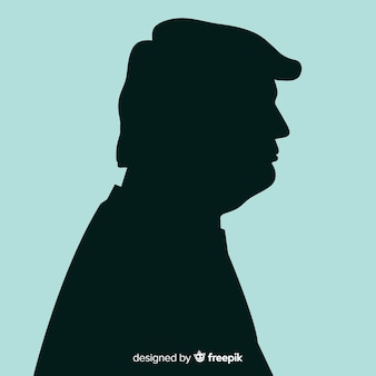 Donald trump portrait with silhouette style