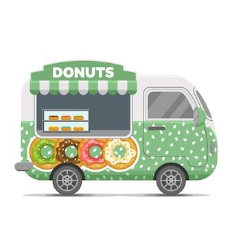 Donat street food vector caravan trailer