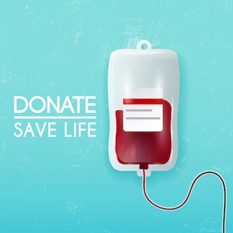 Donate blood bag on blue background.  3d illustration.