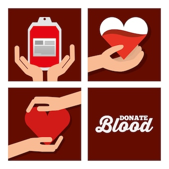Donate blood set medical healthycare
