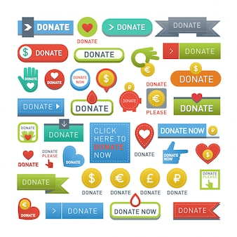 Donate buttons  set.