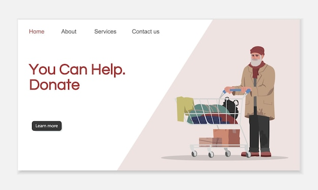Donate to help landing page vector template. homeless shelter website interface idea with flat illustrations. charity organization homepage layout. donation help cartoon web banner, webpage