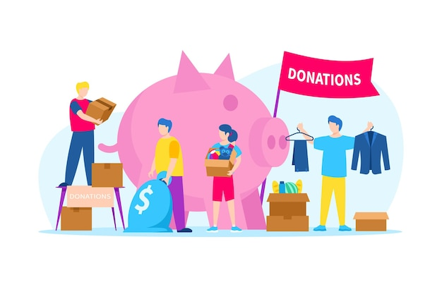 Donate money for volunteer charity, vector illustration. man woman character make donation by food, clothes, toys near huge piggy bank. volunteering aid and social help concept, flat banner.