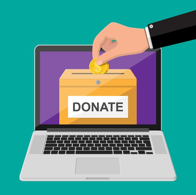 Donate online concept. donation box with golden coins and laptop. charity, donate, help and aid concept.