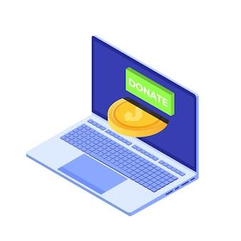 オンラインコンセプトを寄付します。金貨と鍵を寄付するノートパソコン。