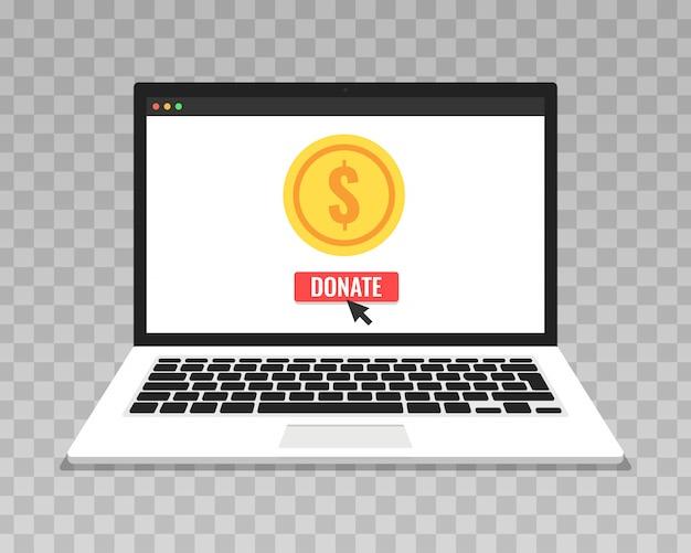 투명 배경에 온라인 개념을 기부하십시오. 금화와 노트북 화면에 상자를 기부.