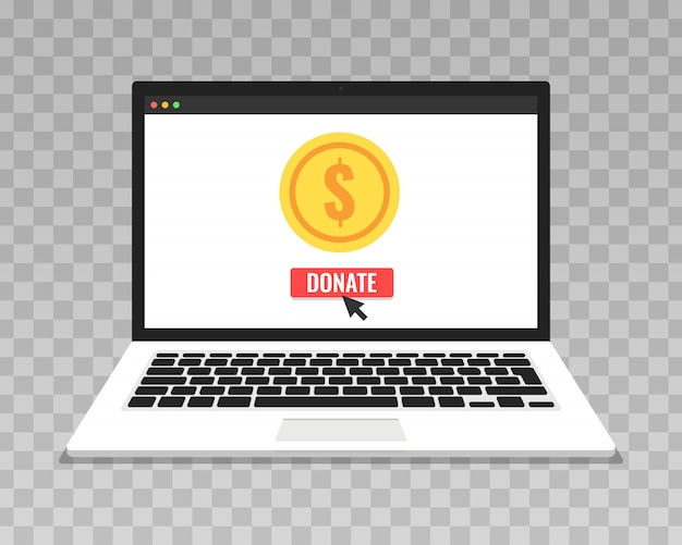 Donate online concept on transparent background. laptop with gold coins and donate box on screen.