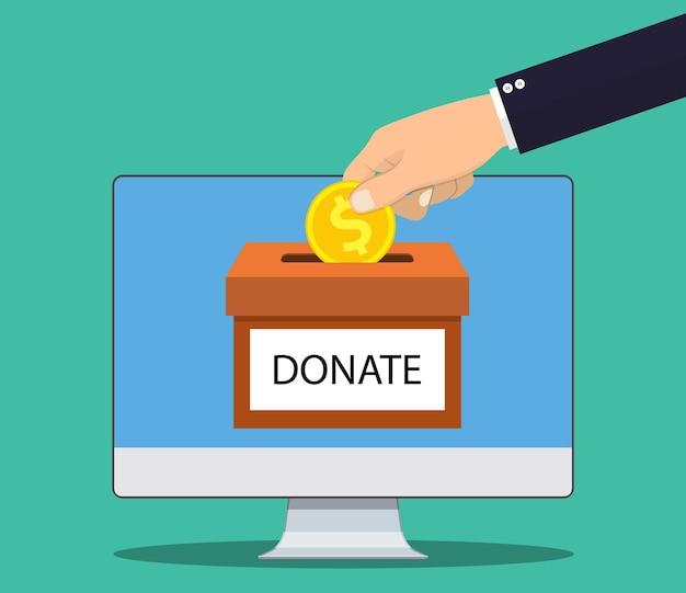 Donate online concept.