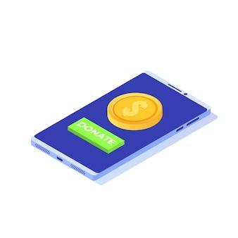 オンラインアイソメトリックコンセプトを寄付します。金貨と鍵の寄付が付いたスマートフォン。