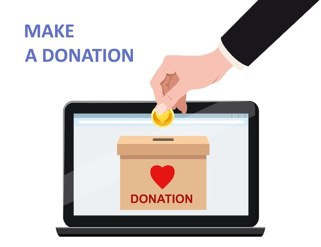 Donate online payments hand insert money gold coin in to the donation box on a laptop pc display