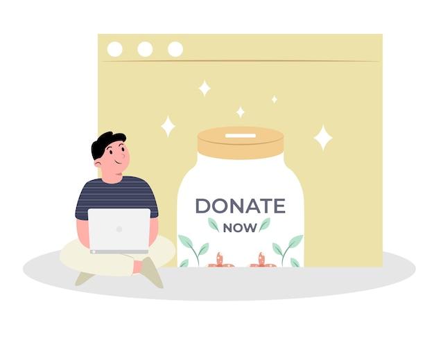 男とラップトップでオンラインで寄付する