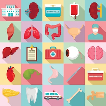 Donate organs icons set, flat style