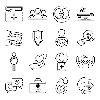 Donate organs icons set, outline style