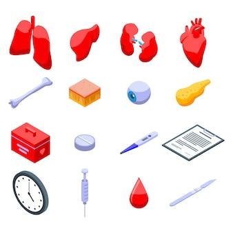 Donate organs icons set
