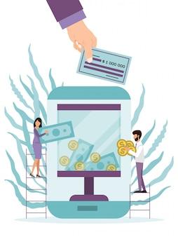 オンラインでの寄付と慈善。オンラインアプリの募金。画面にガラスのチャリティーボックスと大きな電話。お金の現金とコインを募金箱に入れる梯子の上の人々