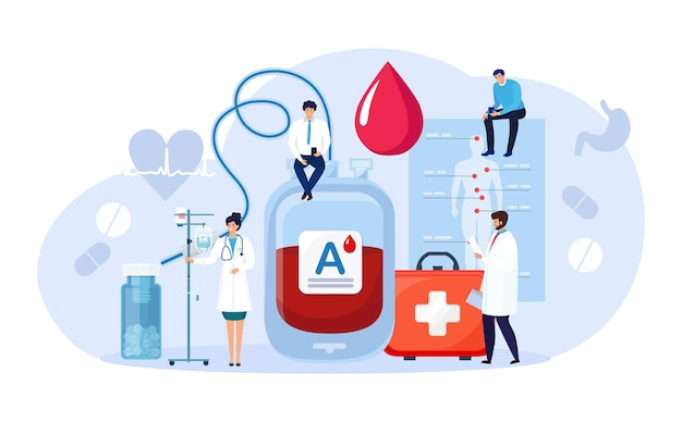 Donating blood in donation bag. blood donor hemolytic transfusion bank. save patient live. hematology clinical laboratory analysis. patient support, charity, volunteering