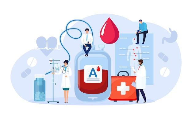 Сдача крови в донорском пакете. банк гемолитических переливаний крови доноров. спасите пациента вживую. гематологический клинический лабораторный анализ. поддержка пациентов, благотворительность, волонтерство