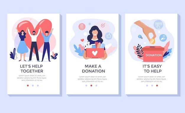 Набор иллюстраций концепции пожертвований и работы волонтеров идеально подходит для целевой страницы мобильного приложения.