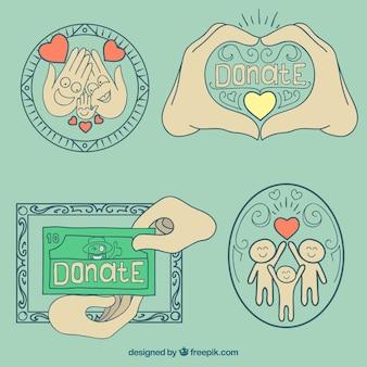 Donation badges, hand drawn