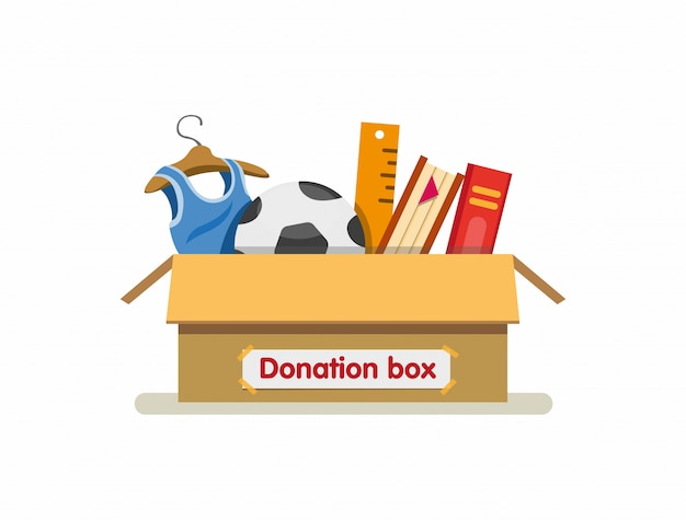 寄付ボックス段ボール準備ができて送信漫画フラットイラストの慈善団体