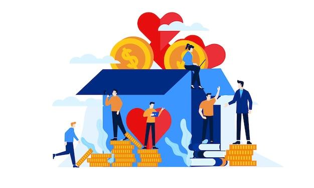 Благотворительный ящик для пожертвований с большим сердцем плоский дизайн иллюстрации